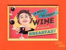 "Breakfast Wine vintage look 2x3"" fridge/locker magnet funny sign"