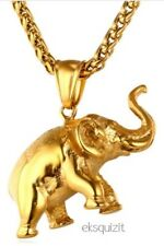 24k Gold Plated Chunky Elephant Pendant Necklace W/giftbox
