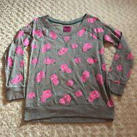 Jennifer Moore Medium Sweatshirt Roses Gray Hot Pink Jenni Cotton