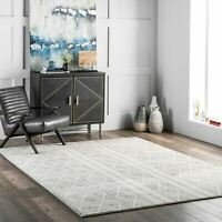 nuLOOM Contemporary Modern Geometric Banded Area Rug in Grey and Off White