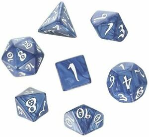 Classic 7-Dice Set, Cobalt with White