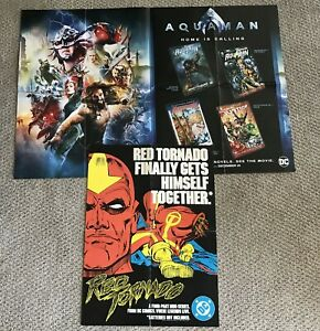 EXC ORIG RED TORNADO 1986 DC TRADE ONLY 16x22 POSTER + AQUAMAN 36x24 MOVIE TIE