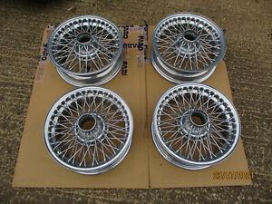 MG MGB MGBGT chrome powdercoat wire wheels set of 4 rebuilt
