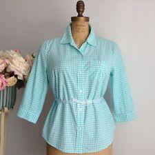 KAREN SCOTT Blue and White 3/4 Sleeve Gingham Buttoned Up Women's Summer Shirt