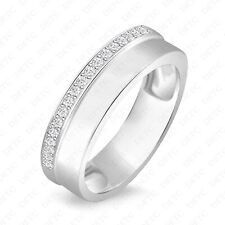 Cluster Round Cut Enagagement Wessing Band Unisex 925 Sterling Silver Half Side