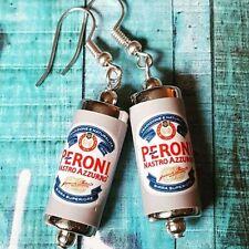 Orecchini unici PERONI realizzato a mano DRINK BIRRA LAGER Pub Lattine italiana in miniatura