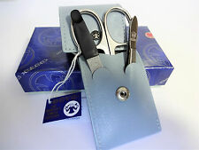 DOVO 1052 - 3 PC. COMPACT LADIES MANICURE SET Light Blue Leather Case GERMANY