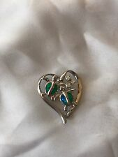 NEW STERLING SILVER & OPAL STONE NAUTICAL HEART W/TURTLES & 3 CZ PENDANT NICE