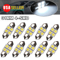10X White 31mm 4SMD Festoon LED Interior Dome Map License Light Bulb DE3175 3022