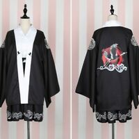 Lady Kimono Cardigans Japanese Coat Jackets Yukata Haori Embroidered Crane Retro