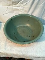 "Vtg  Garden  Porcelain Enamel Pan 15'' X  5.5"" Wash Basin Bowl Powder Green"