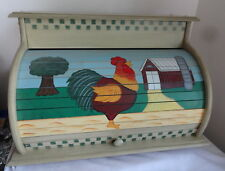 Vintage Bread Box Wood Box Hand Painted Farm Barn Rooster NICE Kitchenware