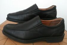 ECCO MENS Shoes Leather Slip On Black Loafers Arch Support Size 42 US 8/8.5