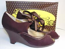 """POETIC LICENSE """"ALL FLUFF"""" 8 B LACE-UP BROWN SUEDE PUMPS $139"""