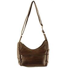 Genuine Lambskin Leather Brown Cross Body Shoulder Messenger Bag Adj. Strap