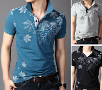 SD76 New Men's Summer T-shirt Casual Slim Fit Short Sleeves Printed Polo Shirts