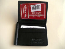 100% Genuine Leather Bi-Fold Money Clip BLACK Wallet ID Window Free Shipping  93