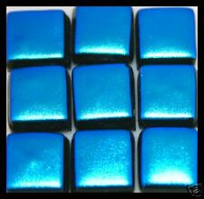 Lot of 6 AZURE Square GLITTER Fused Glass DICHROIC Cabochons NO HOLE Beads