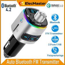 Auto Bluetooth4.2 FM Transmitter QC3.0 KFZ USB Ladegerät Adapter mit 7 Farbe LED