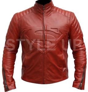 Men's Superman Smallville Man of Steel Shield Casual Bike Red Leather Jacket