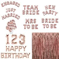 Rose Gold Happy Birthday Bunting Banner Balloons Number Hen Party Decor Confetti