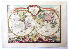 Original Antique Map World in Hemispheres by Pierre Bourgoin, circa 1766