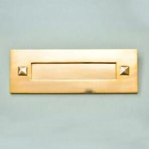 TRADITIONAL SOLID ANTIQUE BRASS LETTERBOX  WITHOUT CLAPPER (*ATC)