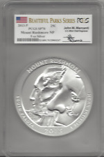 2013-P Mt. MOUNT RUSHMORE NP ATB 5 Oz. SILVER PCGS SP70  Mercanti signed