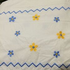 Divatex Home Fashions Twin Duvet Comforter Cover Yellow Blue White Embroidered