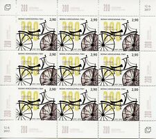 Bosnia & Herzegovina 2017 MNH Draisine Bicycle 200th Ann 9v M/S Bicycles Stamps