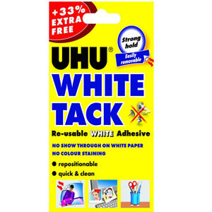 UHU White Tack Adhesive 33% Extra Free Strong Hold Easily Removable Made in EU