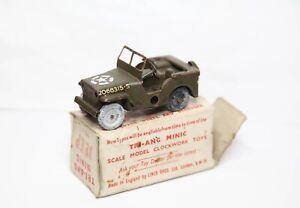 Triang Minic No 1 Jeep In Its Original Box - Nice Vintage Original Clockwork