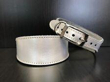 S/M in Pelle per collare cani Foderato Levriero Whippet Levriero persiano Silver Pearl