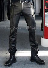BDU leather trousers - cargo style jeans pants