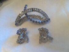 Vintage Blue Rhinestone Brooch/ Matching Dangle Clip Earrings Patent pending