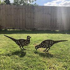 2 Rusty Metal BIRDS PHEASANTS Garden silhouette sign Ornaments decorations lawn