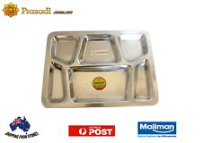 Stainless Steel Rectangle Thali Plate 6 compartments(set of 10) AU Stock Free Sh