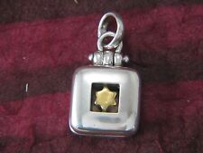 Star Of David Square Locket Sterling Silver Vermeil by Michael Bromberg