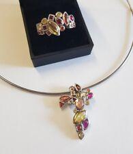 Parure collier ras de cou et bague en argent massif 925 et pierre RefV506