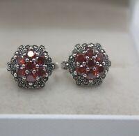 Real S925 Silver Stud Earrings Women's Red Garnet Elegant Earrings Charm New