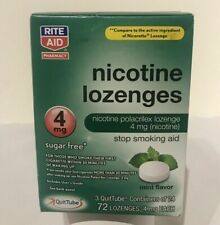 Nicotine Lozenges 4mg, Mint Flavor 72 Ct Stop Smoking Aid by Rite Aid, Exp 05/21