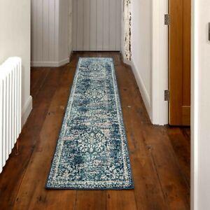Teal Blue Classic Runner Rug Bedroom Distressed Antique Transitional Carpet Mat