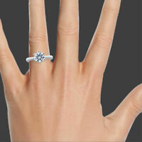 Solitaire 14K White Gold Round Cut Diamond Engagement Ring 0.50 CT F-G/SI2-I1