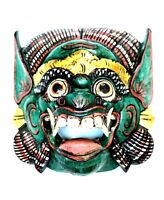 Wood Mask Green Gold Barong Hand Carved Hanging Mask By ZENDA IMPORTS