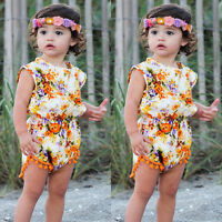 Newborn Toddler Baby Girl Floral Bodysuit Romper Jumpsuit Outfit Sunsuit Clothes