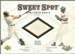 2001 Upper Deck Sweet Spot Game-Used Bases Level 1 Jeff Bagwell Jermaine Dye