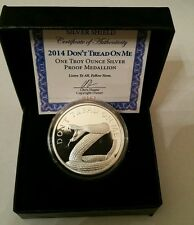 Don't Tread on me 1 oz 999 Silver shield PROOF rattle snake 2nd amendment gadsen