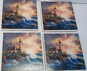 ABSORBASTONE LOT (4) Stone Cliff Sea with Lighthouse Cork Backed Coasters