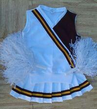 Adult S REAL Cheerleader Cheerleading Uniform Top Skirt Poms Cosplay 36/26 NOS