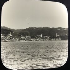 Antique Magic Lantern Glass Slide Photo City View Barbados From Ship